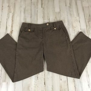 Talbots Womens Pants Brown Striped Cropped